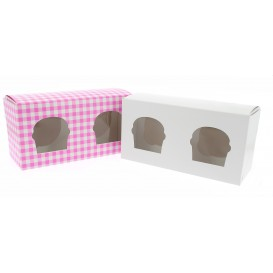 Caja 2 Cupcakes con Soporte 19,5x10x7,5cm Blanca (160 Uds)