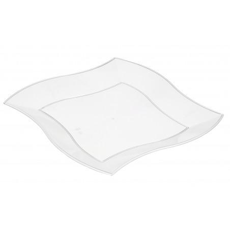 Plato de Plastico Llano Cuadrado Ondas Blanco 230mm (150 Uds)