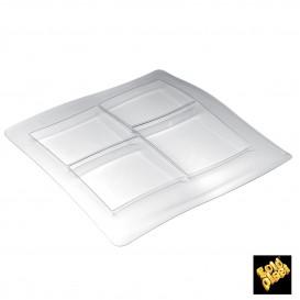 Bandeja Degustacion FoodPoker 4 comp. Transp. 360x360 mm (12 Uds)
