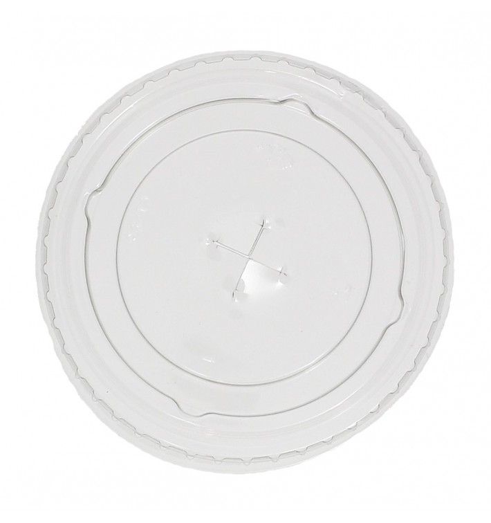 Tapa Plana con Cruz PET Cristal Ø7,3cm (125 Uds)