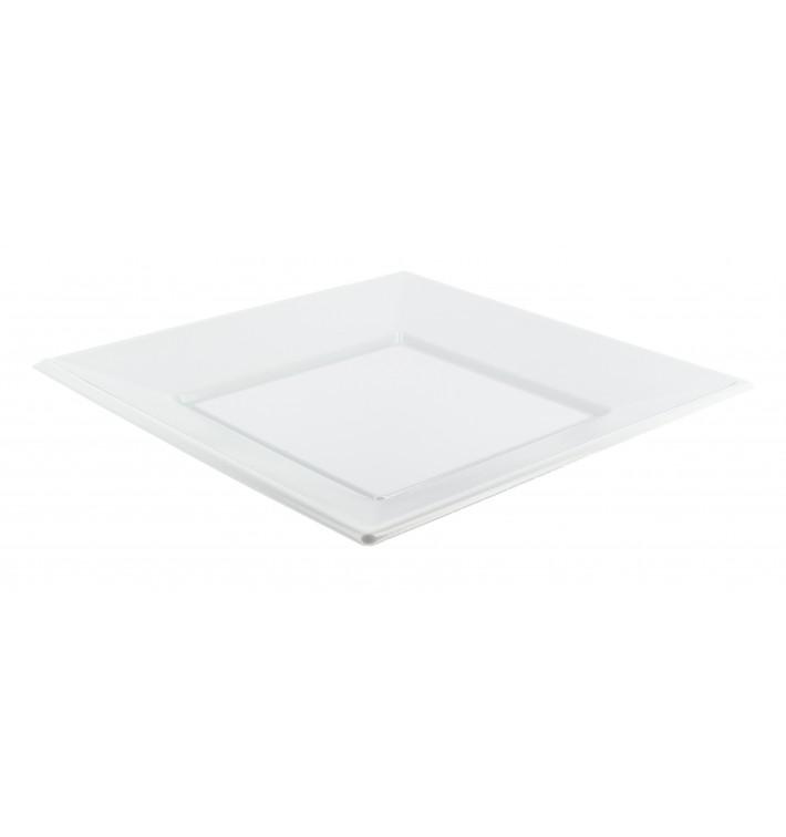 Plato de Plastico Llano Cuadrado Blanco 230mm (300 Uds)