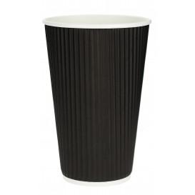"""Vaso Cartón 16 Oz/480ml """"Rizado"""" Negro Ø8,7cm (500 Uds)"""
