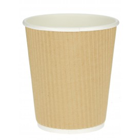 "Vaso Cartón 12 Oz/360ml ""Rizado Kraft"" Marrón Ø8,7cm (1000 Uds)"