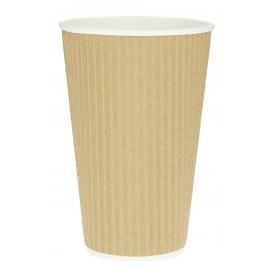 "Vaso Cartón 16 Oz/480ml ""Rizado Kraft"" Marrón Ø8,7cm (25 Uds)"