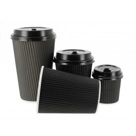 """Vaso Cartón 12 Oz/300ml """"Rizado"""" Negro Ø8,7cm (25 Uds)"""