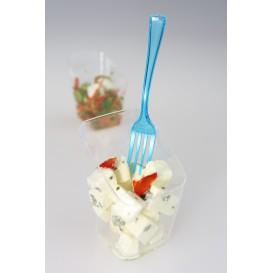 Tenedor de Plastico Premium Turquesa 190mm (10 Uds)