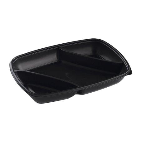 Envase de Plastico PP 3C Negro 975ml 28x20x4cm (50 Uds)