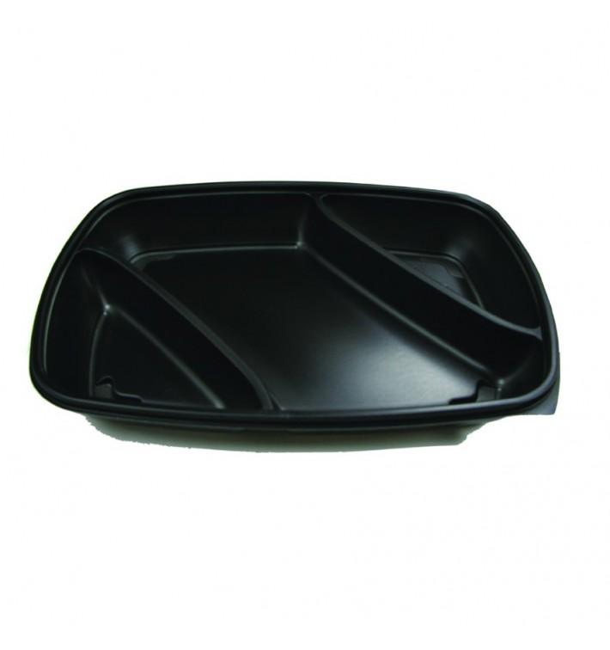 Envase de Plastico PP 3 C. Negro 28x20x4cm (150 Uds)