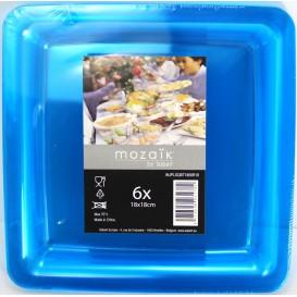 Plato Plastico Cuadrado Extra Rigido Turquesa 18x18cm (6 Uds)