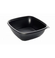 Envase de Plastico PP Negro Cuadrado 16,5x16,5x4cm (50 Uds)
