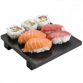 Bandeja Sushi 15x15x2,5cm Bambú Negro (1 Uds)