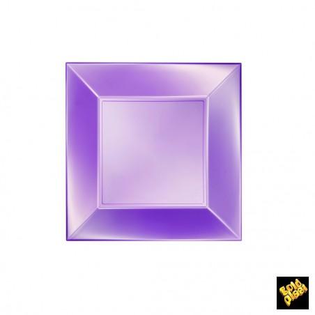 Plato de Plastico Llano Cuadrado Violeta 180mm (25 Uds)