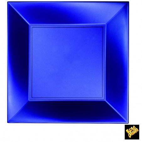 Plato de Plastico Llano Cuadrado Azul 290mm (12 Uds)