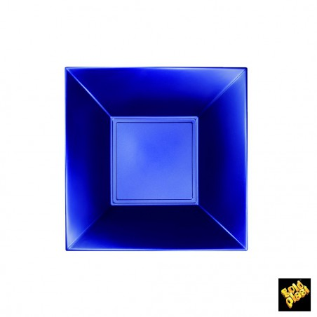 Plato de Plastico Hondo Cuadrado Azul 180mm (25 Uds)