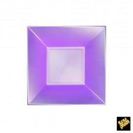 Plato de Plastico Hondo Cuadrado Violeta 180mm (150 Uds)