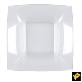 Plato de Plastico Hondo Cuadrado Transp. 180mm (25 Uds)