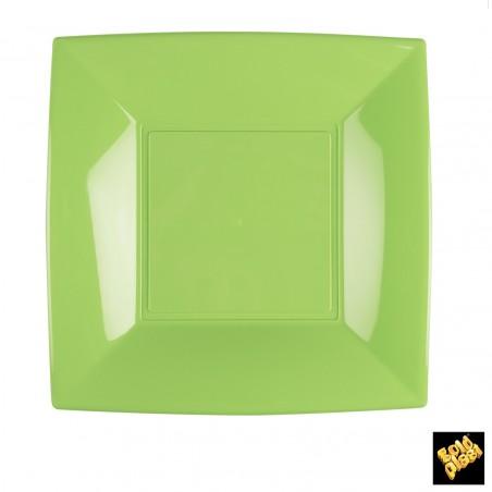 Plato de Plastico Llano Cuadrado Verde Lima 230mm (150 Uds)