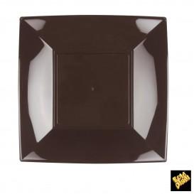 Plato de Plastico Llano Cuadrado Marron 230mm (25 Uds)