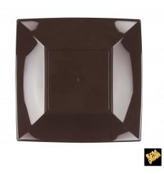 Plato de Plastico Llano Marron Nice PP 230mm (300 Uds)