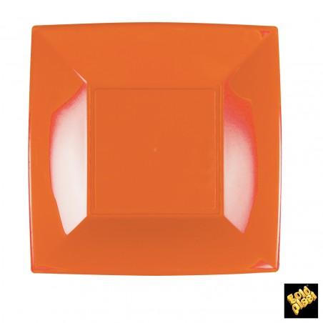 Plato de Plastico Llano Cuadrado Naranja 230mm (150 Uds)