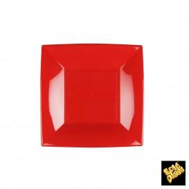 Plato de Plastico Llano Cuadrado Plata 180mm (150 Uds)
