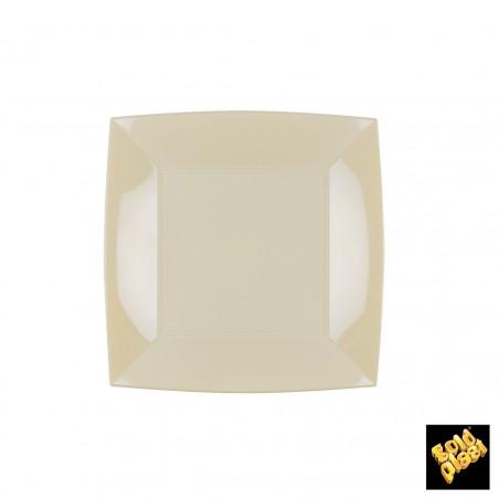 Plato de Plastico Llano Cuadrado Crema 180mm (150 Uds)