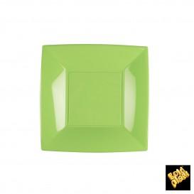 Plato de Plastico Llano Cuadrado Verde Lima 180mm (150 Uds)