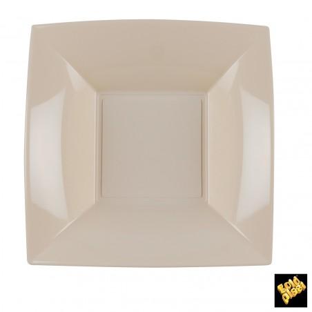Plato de Plastico Hondo Cuadrado Beige 180mm (150 Uds)