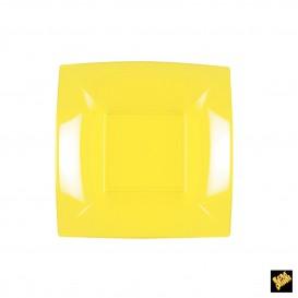 Plato de Plastico Hondo Cuadrado Amarillo 180mm (25 Uds)