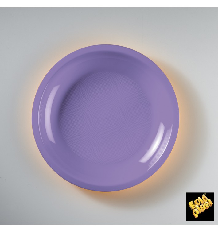 Plato de Plastico Llano Lila Round PP Ø220mm (50 Uds)