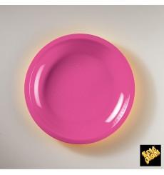 Plato de Plastico Llano Fucsia Round PP Ø220mm (600 Uds)