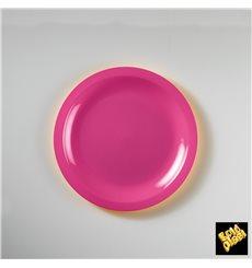 Plato de Plastico Llano Fucsia Round PP Ø185mm (50 Uds)