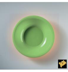 Plato de Plastico Hondo Verde Lima Round PP Ø195mm (50 Uds)