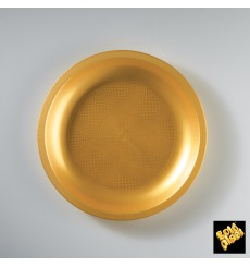 Plato de Plastico Llano Oro Round PP Ø220mm (25 Uds)