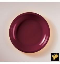 Plato de Plastico Llano Burdeos Round PP Ø220mm (50 Uds)