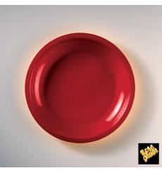 Plato de Plastico Llano Rojo Round PP Ø220mm (600 Uds)