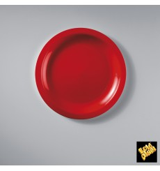 Plato de Plastico Llano Rojo Round PP Ø185mm (600 Uds)
