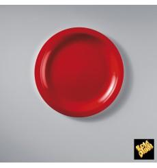 Plato de Plastico Llano Rojo Round PP Ø185mm (50 Uds)