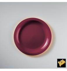 Plato de Plastico Llano Burdeos Round PP Ø185mm (50 Uds)