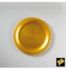 Plato de Plastico Llano Oro Ø185mm (300 Uds)
