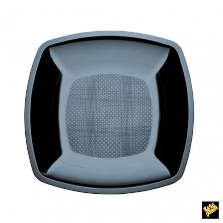 Plato de Plastico Liso Negro PS 230mm (150 Uds)