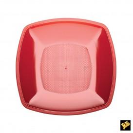 Plato de Plastico Liso Rojo Transparente PS 230mm (150 Uds)