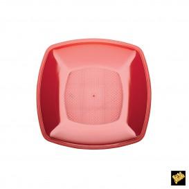 Plato de Plastico Llano Rojo Transp. PS 180mm (150 Uds)