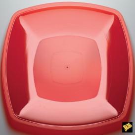 Plato de Plastico Llano Rojo Transp. PS 300mm (12 Uds)