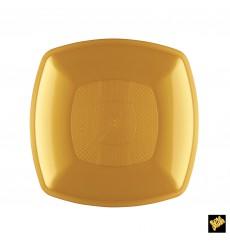 Plato de Plastico Llano Oro Square PP 180mm (300 Uds)