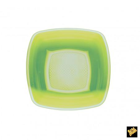 Plato de Plastico Hondo Verde Lima PP 180mm (25 Uds)