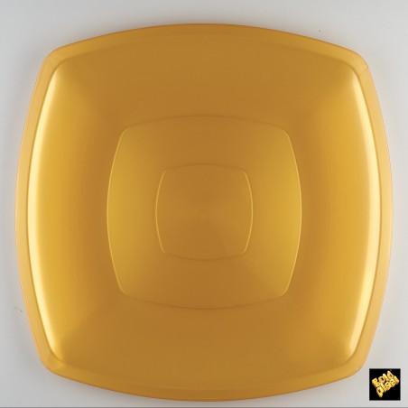 Plato de Plastico Llano Oro PS 300mm (12 Uds)