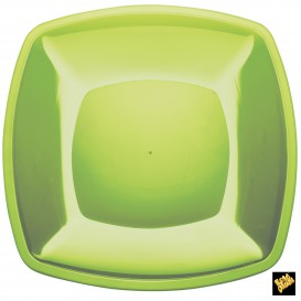 Plato de Plastico Llano Verde Lima PS 300mm (12 Uds)