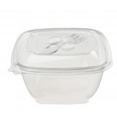 Bol de Plástico Cuadrado Ensaladera PET 375ml (50 Uds)
