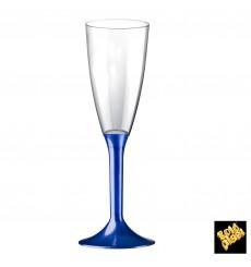 Copa Plastico Cava Pie Azul Perlado 120ml 2P (20 Uds)